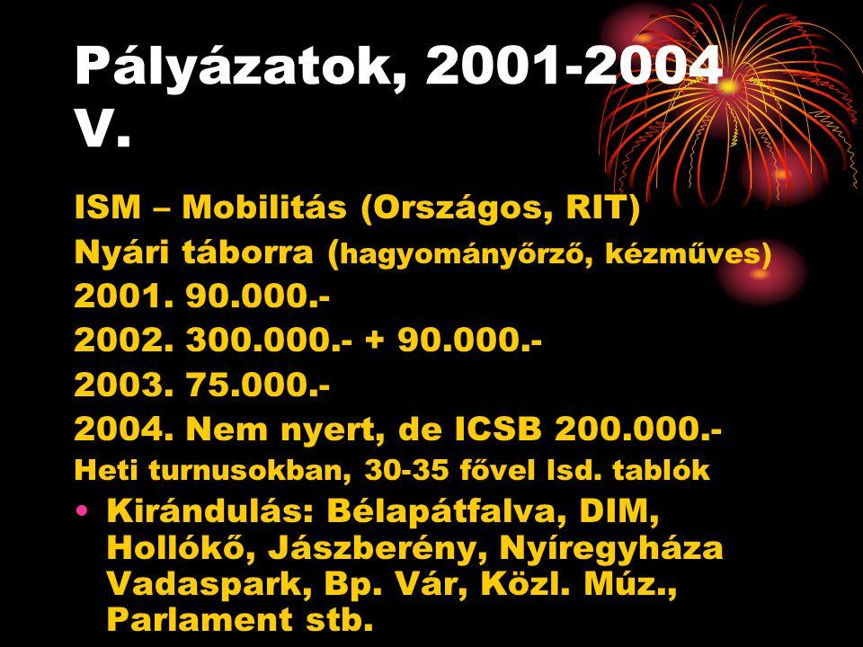 Pályázatok, 2001-2004 V.