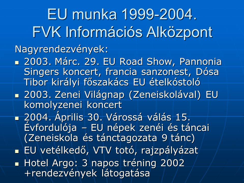 EU munka 1999-2004.FVK Információs Alközpont Nagyrendezvények:  2003.