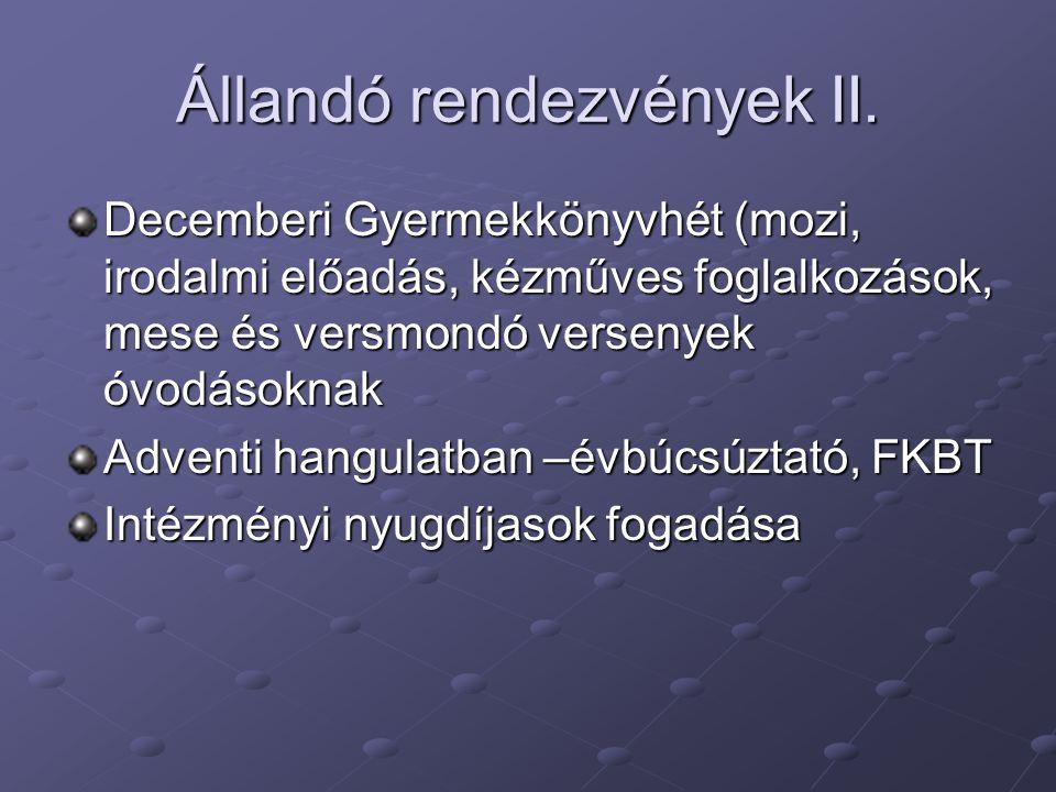 Állandó rendezvények II.