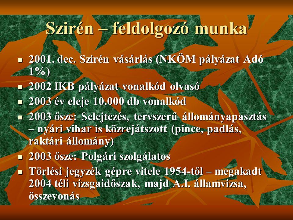 Szirén – feldolgozó munka  2001. dec.