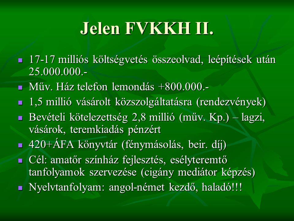 Jelen FVKKH II. 17-17 milliós költségvetés összeolvad, leépítések után 25.000.000.-  Műv.