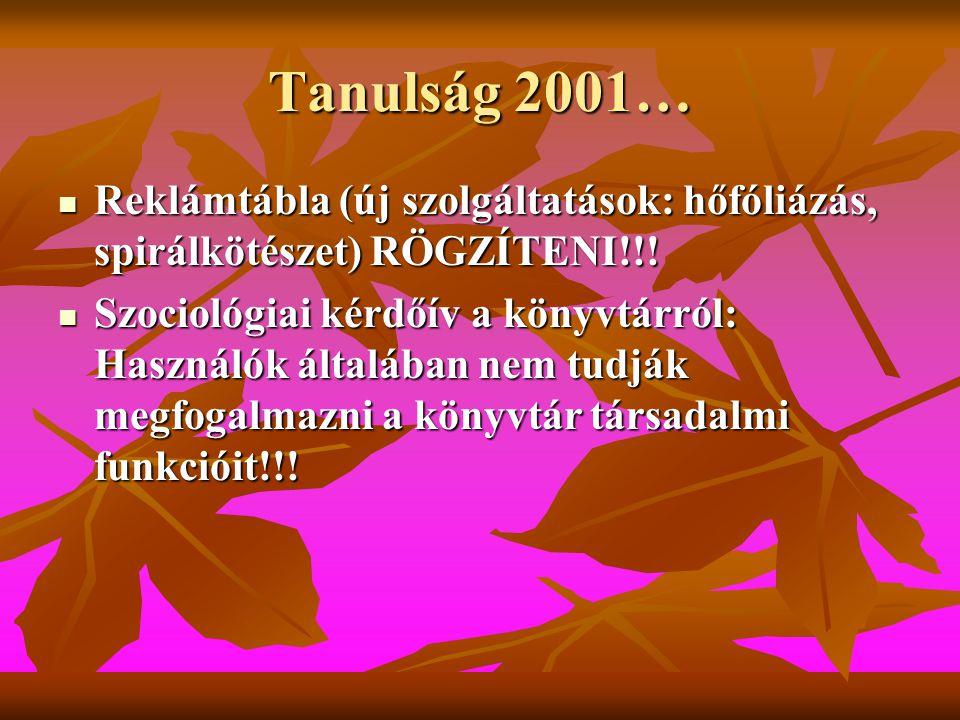 Tanulság 2001…  Reklámtábla (új szolgáltatások: hőfóliázás, spirálkötészet) RÖGZÍTENI!!.