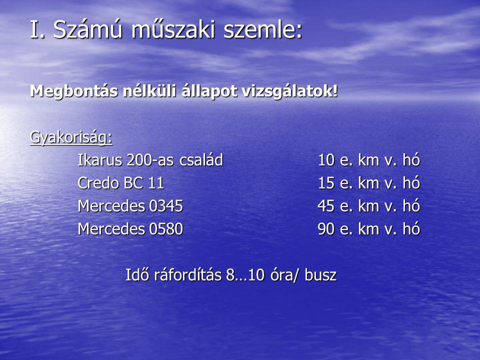 I. Számú műszaki szemle: Megbontás nélküli állapot vizsgálatok! Gyakoriság: Ikarus 200-as család10 e. km v. hó Credo BC 1115 e. km v. hó Mercedes 0345