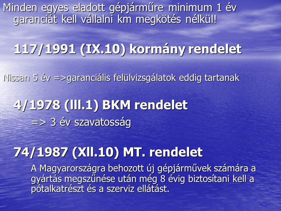 Minden egyes eladott gépjárműre minimum 1 év garanciát kell vállalni km megkötés nélkül! 117/1991 (IX.10) kormány rendelet Nissan 5 év =>garanciális f