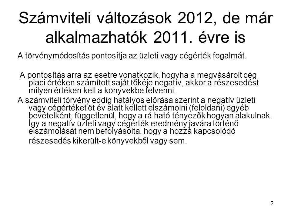 2 Számviteli változások 2012, de már alkalmazhatók 2011. évre is A törvénymódosítás pontosítja az üzleti vagy cégérték fogalmát. A pontosítás arra az
