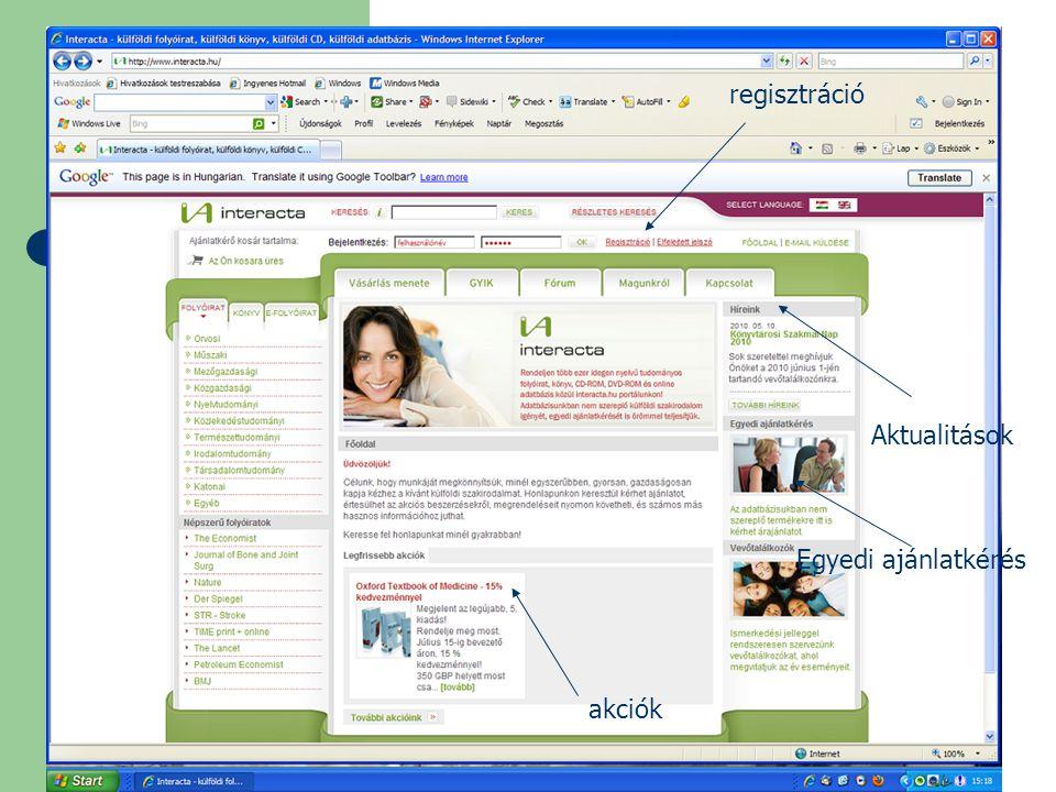 Aktualitások regisztráció akciók Egyedi ajánlatkérés