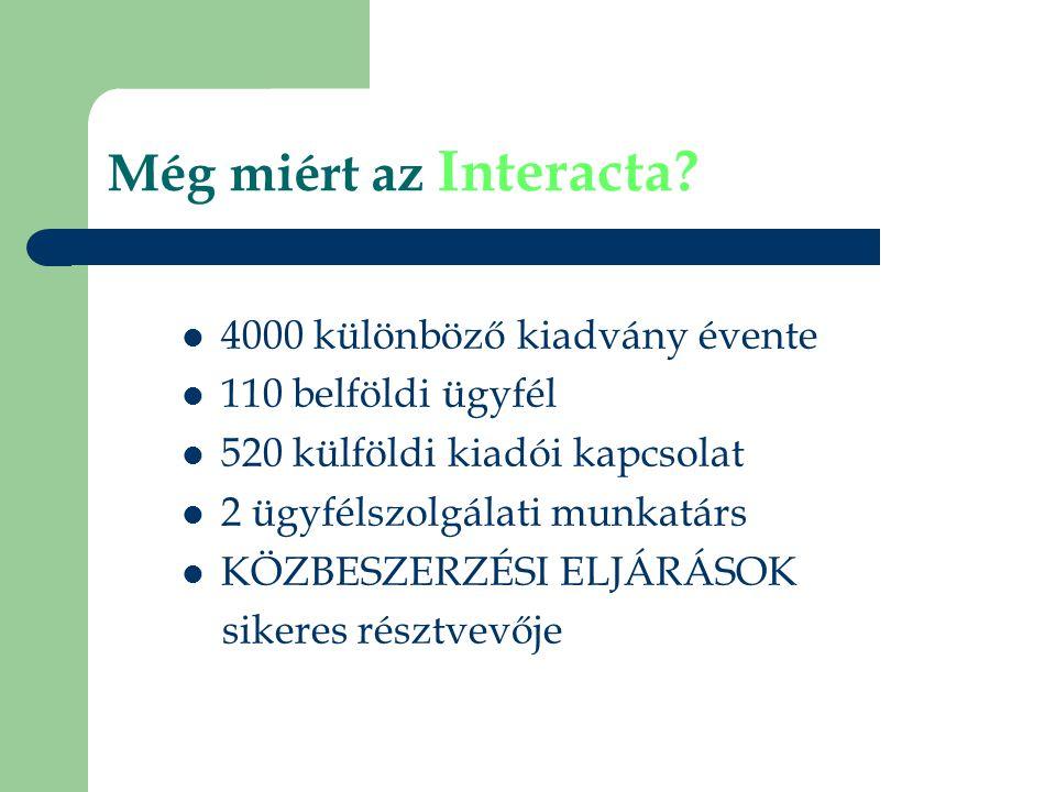 Még miért az Interacta?  4000 különböző kiadvány évente  110 belföldi ügyfél  520 külföldi kiadói kapcsolat  2 ügyfélszolgálati munkatárs  KÖZBES