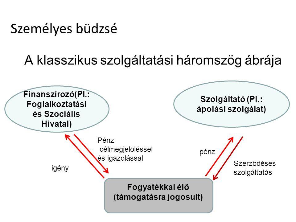 A klasszikus szolgáltatási háromszög ábrája Finanszírozó(Pl.: Foglalkoztatási és Szociális Hivatal) Szolgáltató (Pl.: ápolási szolgálat) Fogyatékkal élő (támogatásra jogosult) igény Szerződéses szolgáltatás pénz Pénz célmegjelöléssel és igazolással Személyes büdzsé
