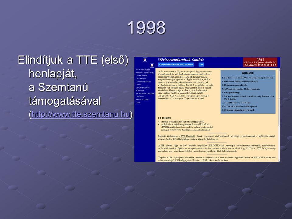 1998 Elindítjuk a TTE (első) honlapját, a Szemtanú támogatásával (http://www.tte.szemtanu.hu) (http://www.tte.szemtanu.hu)http://www.tte.szemtanu.hu