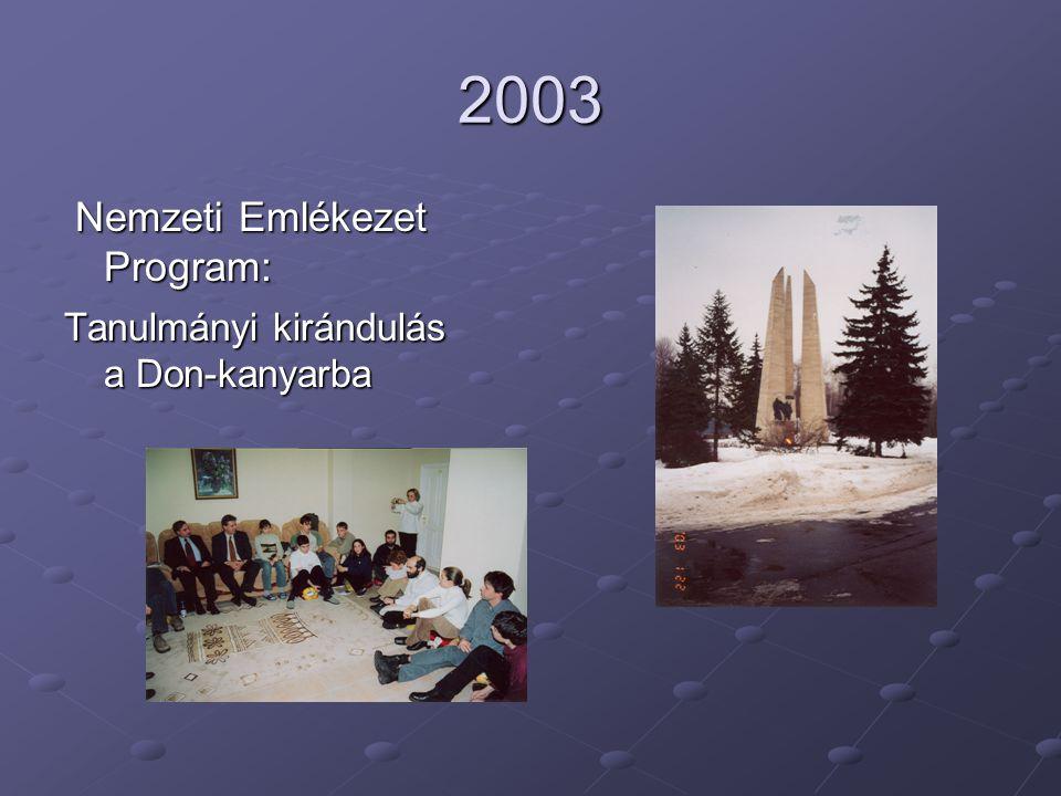 2003 Nemzeti Emlékezet Program: Tanulmányi kirándulás a Don-kanyarba