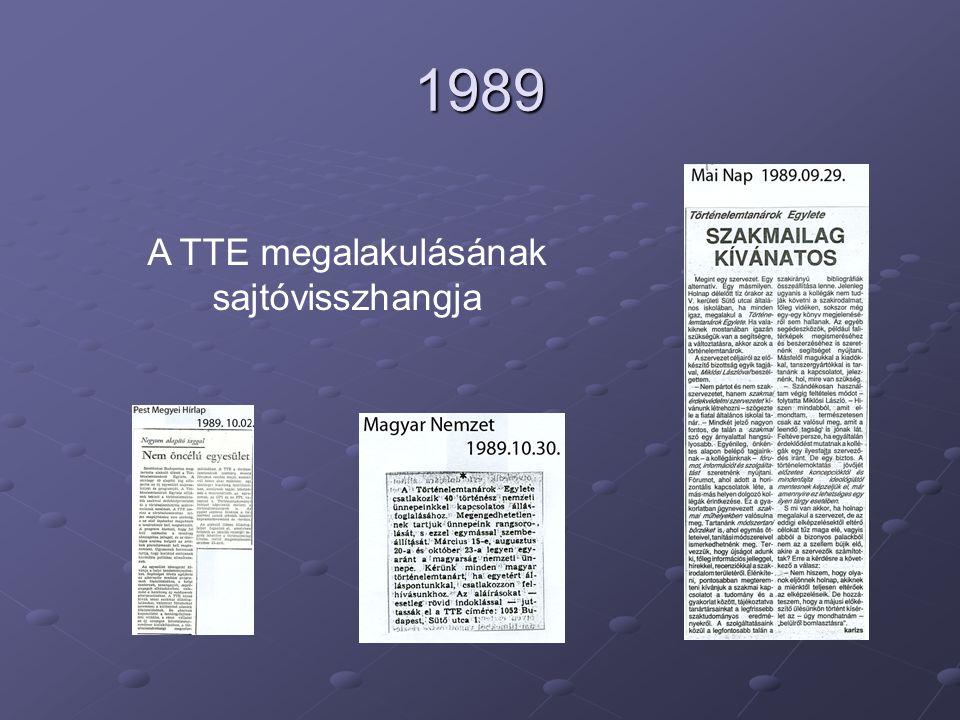 1989 A TTE megalakulásának sajtóvisszhangja