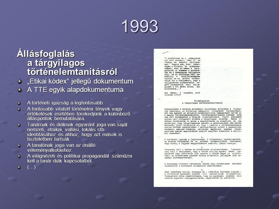 """1993 Állásfoglalás a tárgyilagos történelemtanításról """"Etikai kódex jellegű dokumentum A TTE egyik alapdokumentuma A történeti igazság a legfontosabb."""