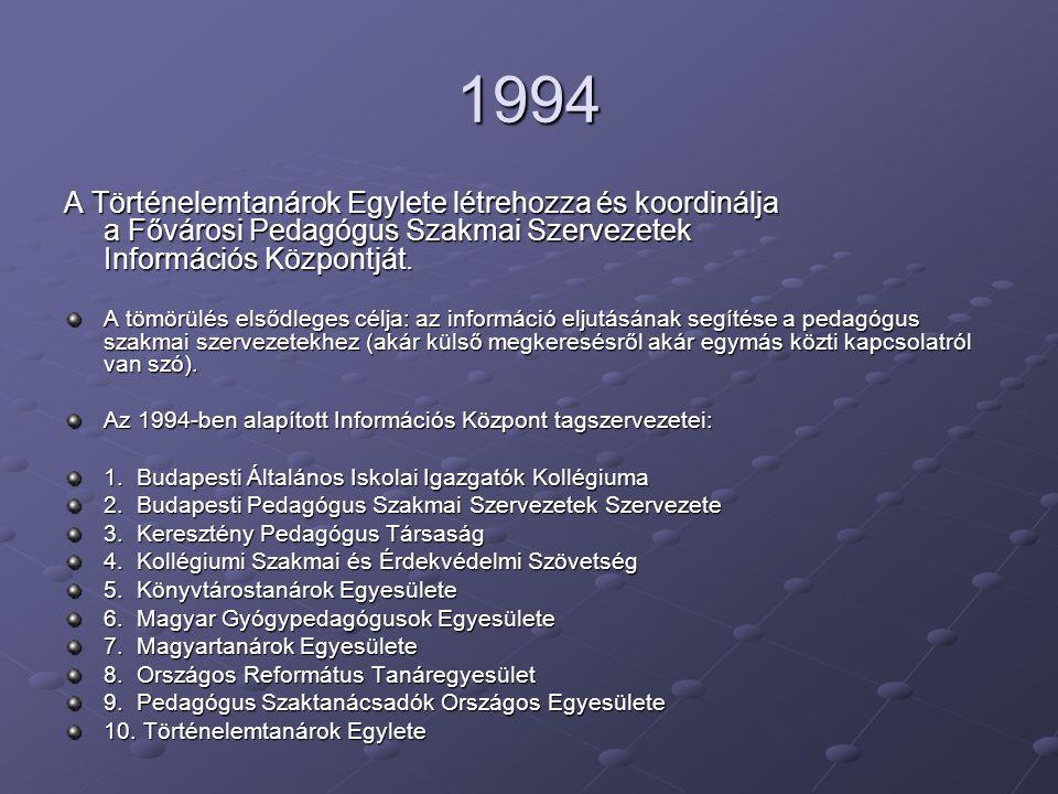 1994 A Történelemtanárok Egylete létrehozza és koordinálja a Fővárosi Pedagógus Szakmai Szervezetek Információs Központját.