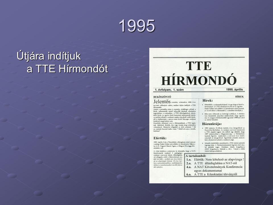 1995 Útjára indítjuk a TTE Hírmondót