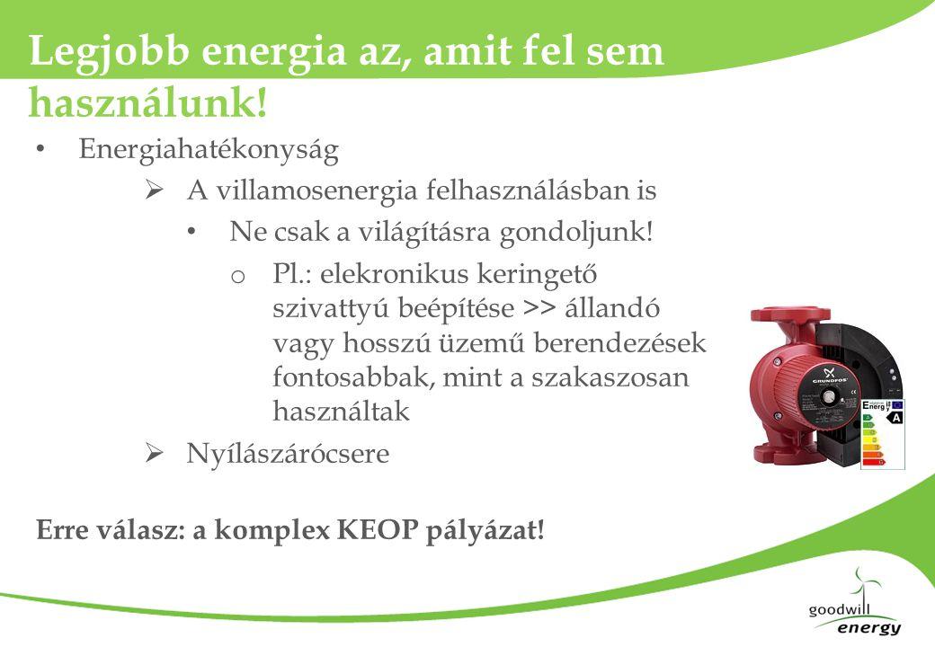 Legjobb energia az, amit fel sem használunk! • Energiahatékonyság  A villamosenergia felhasználásban is • Ne csak a világításra gondoljunk! o Pl.: el