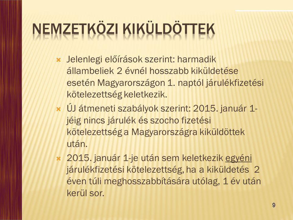 9  Jelenlegi előírások szerint: harmadik állambeliek 2 évnél hosszabb kiküldetése esetén Magyarországon 1. naptól járulékfizetési kötelezettség kelet