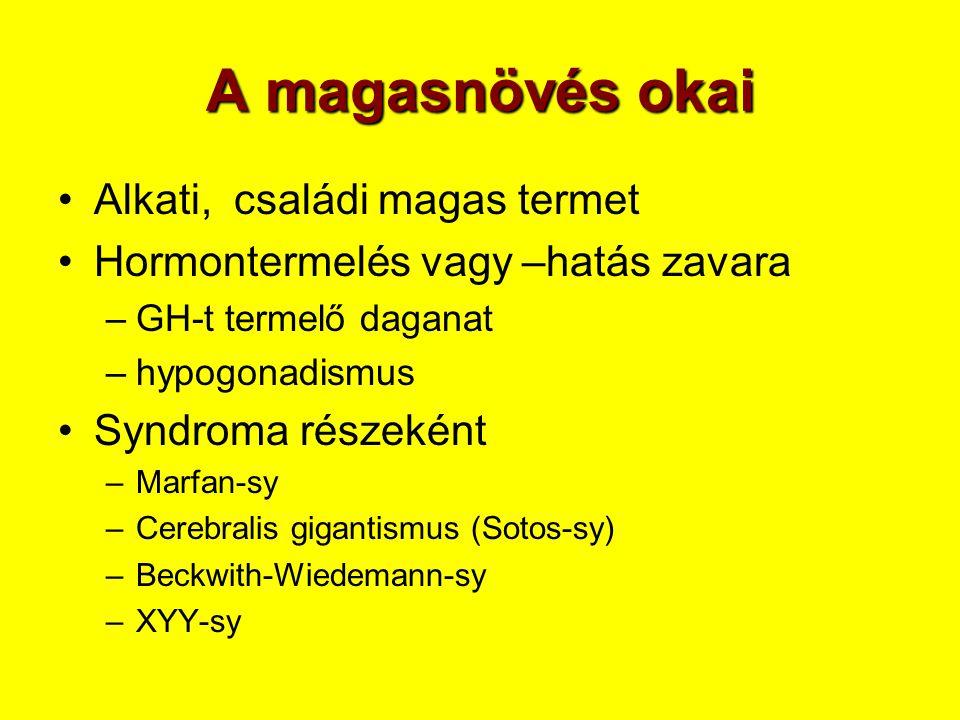 A magasnövés okai •Alkati, családi magas termet •Hormontermelés vagy –hatás zavara –GH-t termelő daganat –hypogonadismus •Syndroma részeként –Marfan-s