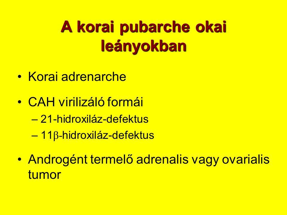 A korai pubarche okai leányokban •Korai adrenarche •CAH virilizáló formái –21-hidroxiláz-defektus –11 β- hidroxiláz-defektus •Androgént termelő adrena