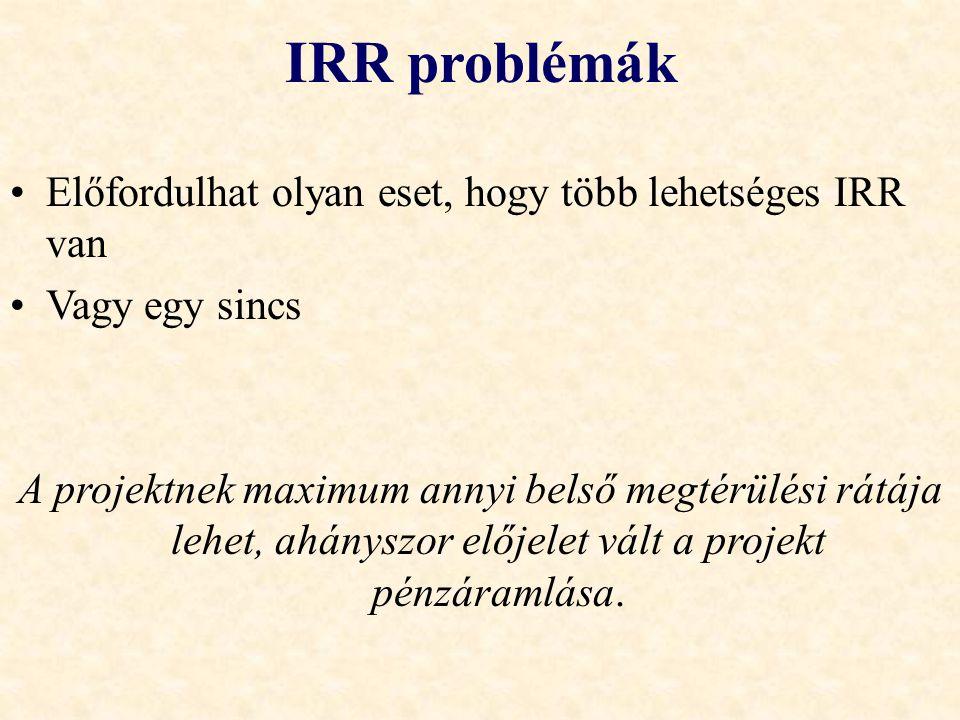 IRR problémák •Előfordulhat olyan eset, hogy több lehetséges IRR van •Vagy egy sincs A projektnek maximum annyi belső megtérülési rátája lehet, ahánys
