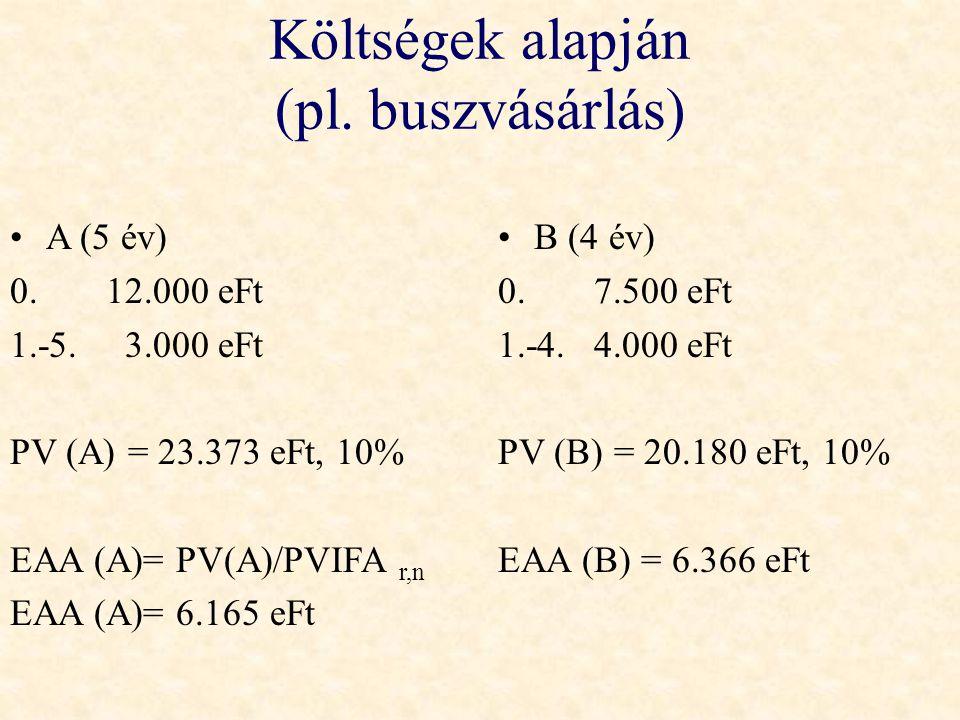 Költségek alapján (pl. buszvásárlás) •A (5 év) 0.12.000 eFt 1.-5. 3.000 eFt PV (A) = 23.373 eFt, 10% EAA (A)= PV(A)/PVIFA r,n EAA (A)= 6.165 eFt •B (4