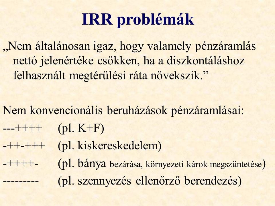IRR problémák •Előfordulhat olyan eset, hogy több lehetséges IRR van •Vagy egy sincs A projektnek maximum annyi belső megtérülési rátája lehet, ahányszor előjelet vált a projekt pénzáramlása.