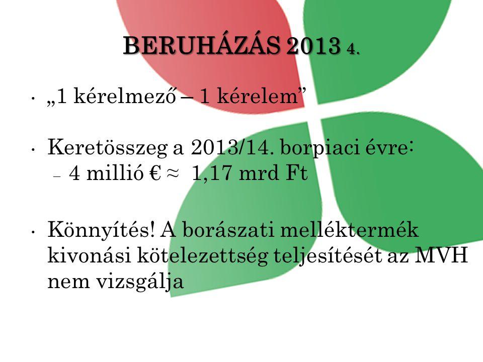 """BERUHÁZÁS 2013 4.• """"1 kérelmező – 1 kérelem • Keretösszeg a 2013/14."""