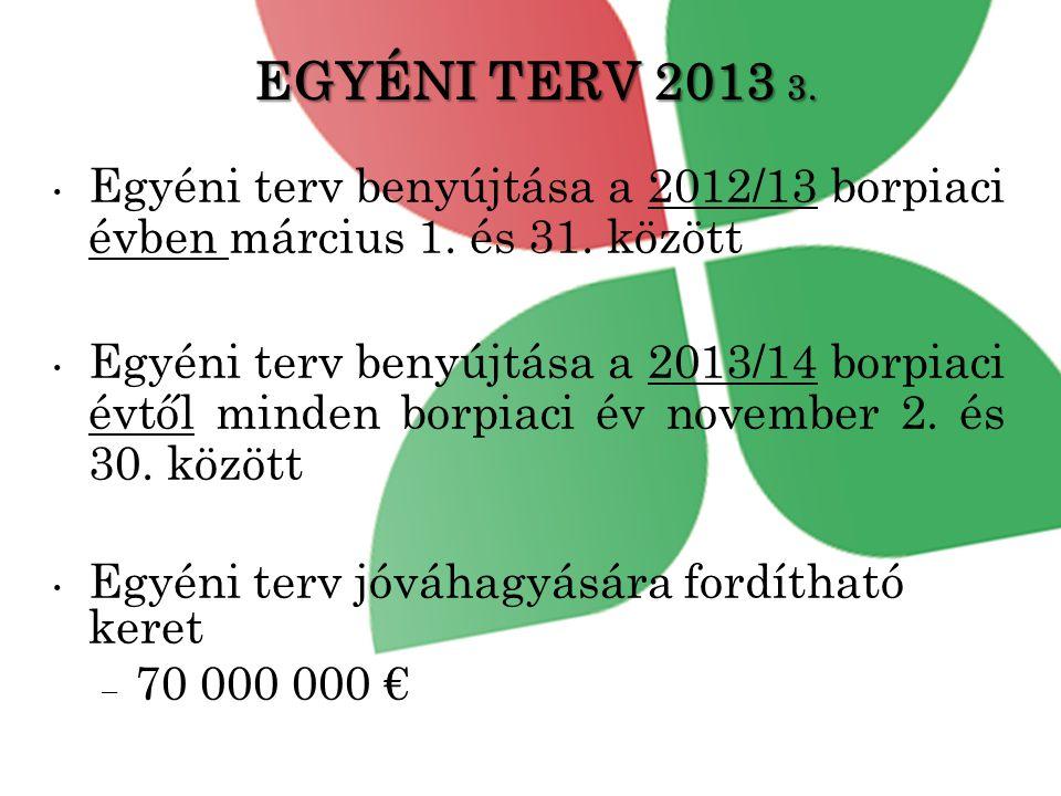 EGYÉNI TERV 2013 3.• Egyéni terv benyújtása a 2012/13 borpiaci évben március 1.