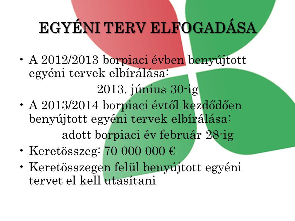 EGYÉNI TERV ELFOGADÁSA •A 2012/2013 borpiaci évben benyújtott egyéni tervek elbírálása: 2013.