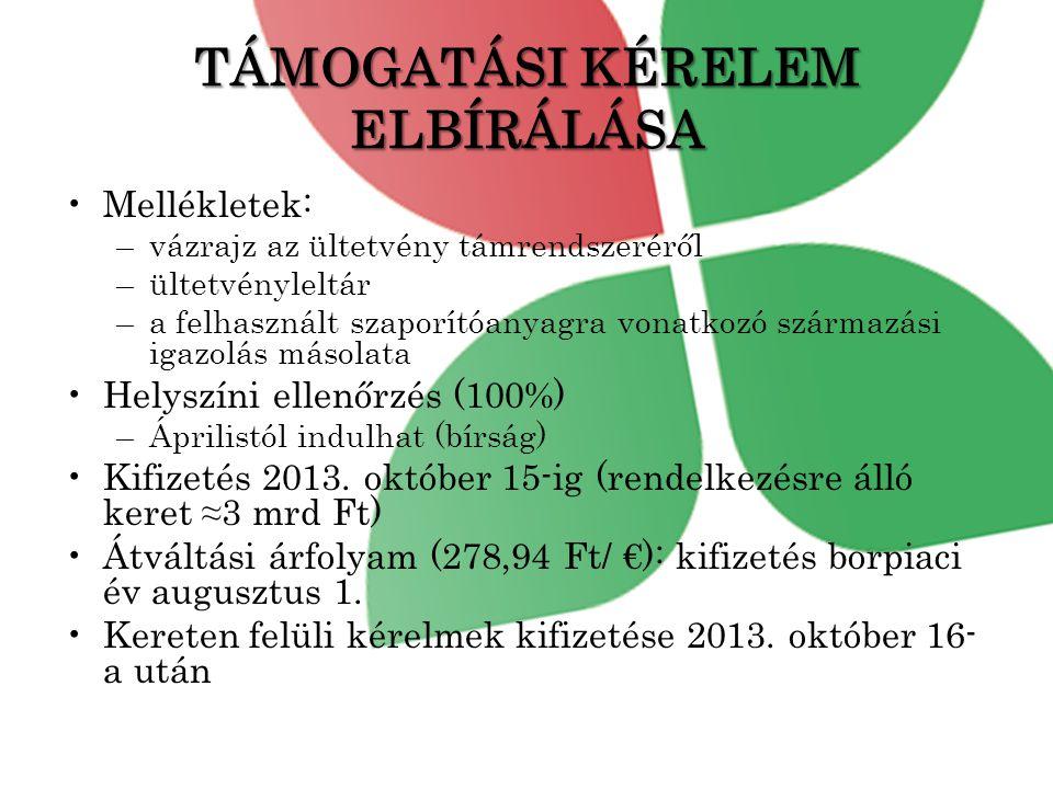 TÁMOGATÁSI KÉRELEM ELBÍRÁLÁSA •Mellékletek: –vázrajz az ültetvény támrendszeréről –ültetvényleltár –a felhasznált szaporítóanyagra vonatkozó származási igazolás másolata •Helyszíni ellenőrzés (100%) –Áprilistól indulhat (bírság) •Kifizetés 2013.