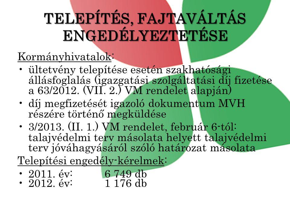 TELEPÍTÉS, FAJTAVÁLTÁS ENGEDÉLYEZTETÉSE Kormányhivatalok: •ültetvény telepítése esetén szakhatósági állásfoglalás (igazgatási szolgáltatási díj fizetése a 63/2012.