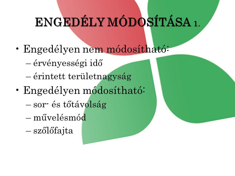 ENGEDÉLY MÓDOSÍTÁSA 1.