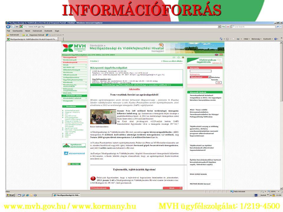 INFORMÁCIÓFORRÁS www.mvh.gov.hu / www.kormany.hu MVH ügyfélszolgálat: 1/219-4500