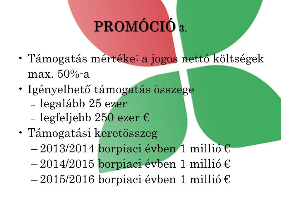 PROMÓCIÓ 3.•Támogatás mértéke: a jogos nettó költségek max.