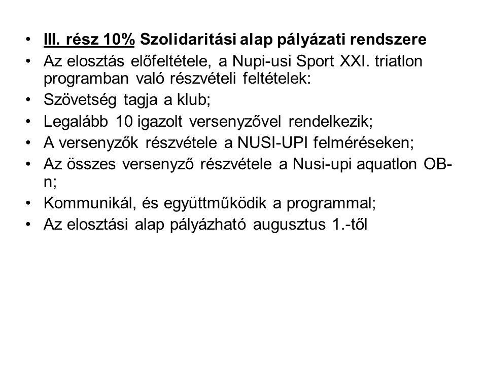 •III. rész 10% Szolidaritási alap pályázati rendszere •Az elosztás előfeltétele, a Nupi-usi Sport XXI. triatlon programban való részvételi feltételek: