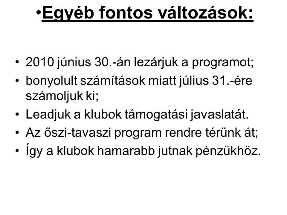•2010 június 30.-án lezárjuk a programot; •bonyolult számítások miatt július 31.-ére számoljuk ki; •Leadjuk a klubok támogatási javaslatát. •Az őszi-t