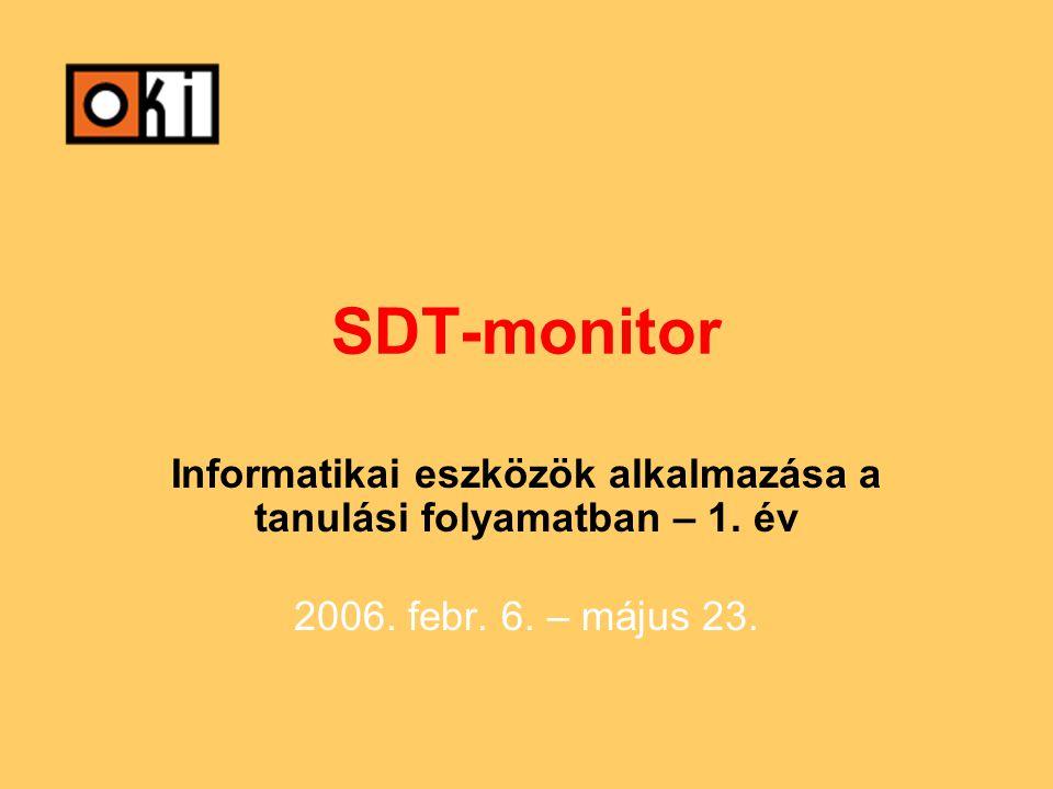 SDT-monitor Informatikai eszközök alkalmazása a tanulási folyamatban – 1.