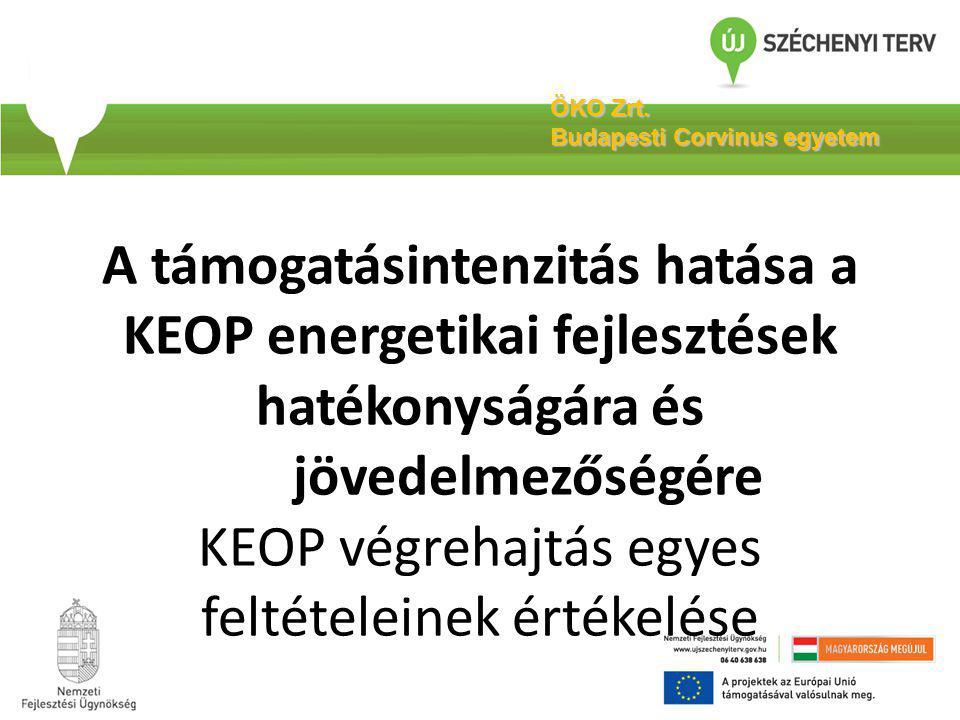 A támogatásintenzitás hatása a KEOP energetikai fejlesztések hatékonyságára és jövedelmezőségére KEOP végrehajtás egyes feltételeinek értékelése ÖKO Z
