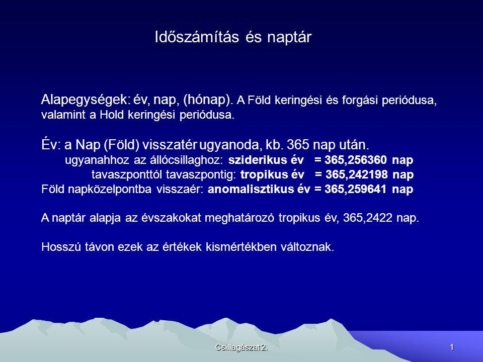 Csillagászat 2.2 Hónap: a Hold visszatér valamely viszonyítási ponthoz Újholdhoz: szinódikus hónap = 29,530589 nap Tavaszponthoz: tropikus hónap = 27,321582 nap Csillagokhoz: sziderikus hónap = 27,321662 nap Földközelponthoz: anomalisztikus hónap = 27,554550 nap Csomóvonalhoz: drakonikus hónap = 27,212221 nap A naptár szempontjából a holdfázisokhoz kötődő szinódikus hónap a fontos.