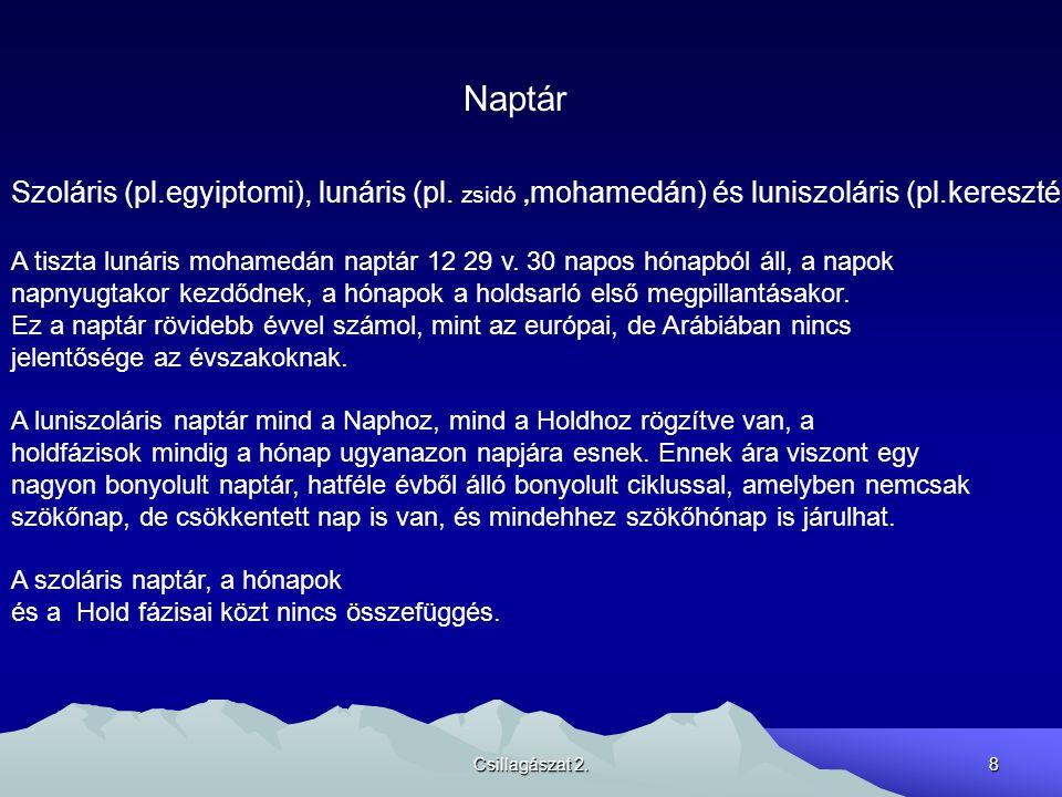 Csillagászat 2.8 Naptár Szoláris (pl.egyiptomi), lunáris (pl. zsidó, mohamedán) és luniszoláris (pl.keresztény) A tiszta lunáris mohamedán naptár 12 2