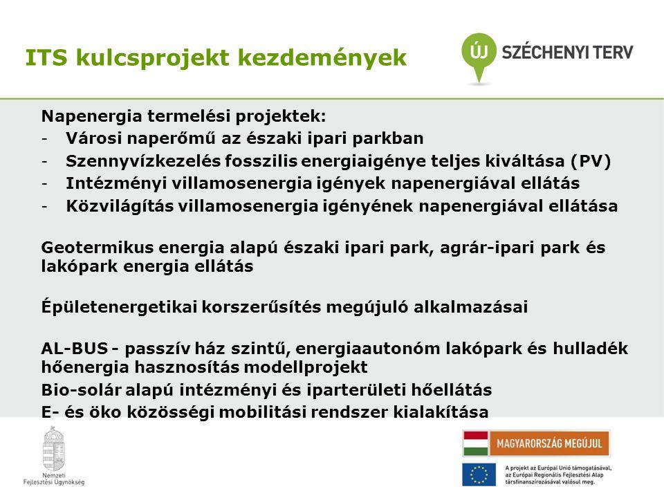 Napenergia termelési projektek: -Városi naperőmű az északi ipari parkban -Szennyvízkezelés fosszilis energiaigénye teljes kiváltása (PV) -Intézményi villamosenergia igények napenergiával ellátás -Közvilágítás villamosenergia igényének napenergiával ellátása Geotermikus energia alapú északi ipari park, agrár-ipari park és lakópark energia ellátás Épületenergetikai korszerűsítés megújuló alkalmazásai AL-BUS - passzív ház szintű, energiaautonóm lakópark és hulladék hőenergia hasznosítás modellprojekt Bio-solár alapú intézményi és iparterületi hőellátás E- és öko közösségi mobilitási rendszer kialakítása ITS kulcsprojekt kezdemények