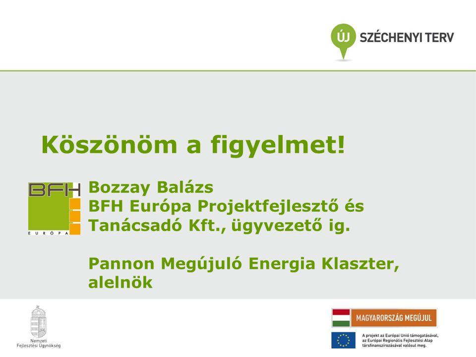 Köszönöm a figyelmet. Bozzay Balázs BFH Európa Projektfejlesztő és Tanácsadó Kft., ügyvezető ig.