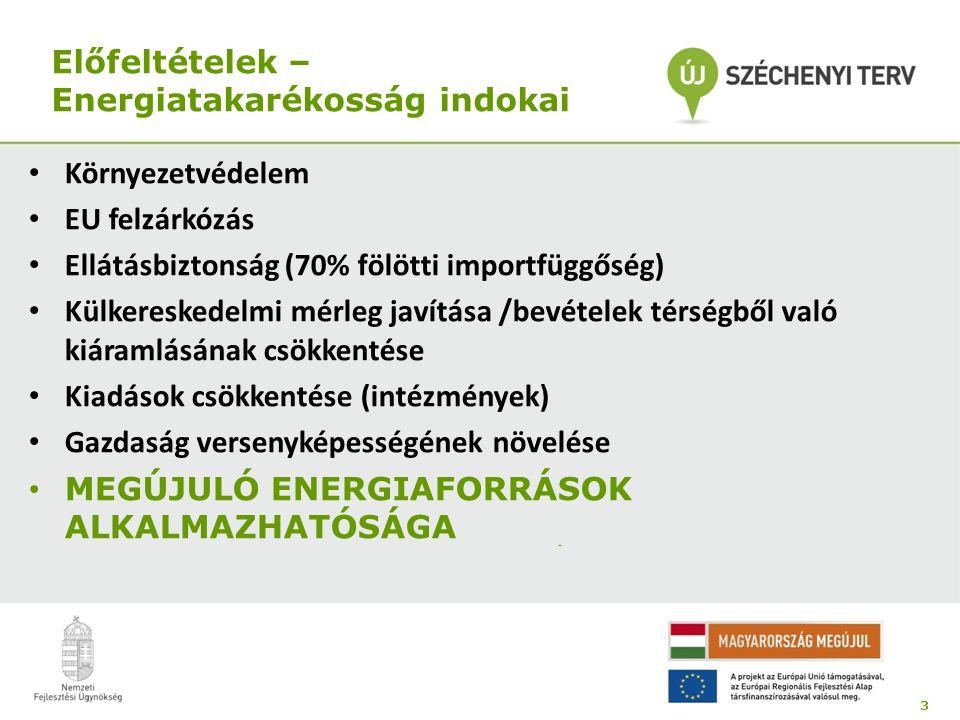Előfeltételek – Energiatakarékosság indokai • Környezetvédelem • EU felzárkózás • Ellátásbiztonság (70% fölötti importfüggőség) • Külkereskedelmi mérleg javítása /bevételek térségből való kiáramlásának csökkentése • Kiadások csökkentése (intézmények) • Gazdaság versenyképességének növelése • MEGÚJULÓ ENERGIAFORRÁSOK ALKALMAZHATÓSÁGA 3 -