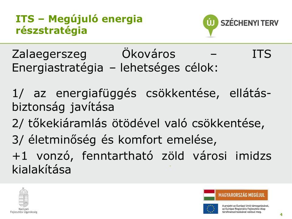 ITS – Megújuló energia részstratégia Zalaegerszeg Ökováros – ITS Energiastratégia – lehetséges célok: 1/ az energiafüggés csökkentése, ellátás- biztonság javítása 2/ tőkekiáramlás ötödével való csökkentése, 3/ életminőség és komfort emelése, +1 vonzó, fenntartható zöld városi imidzs kialakítása 4 -