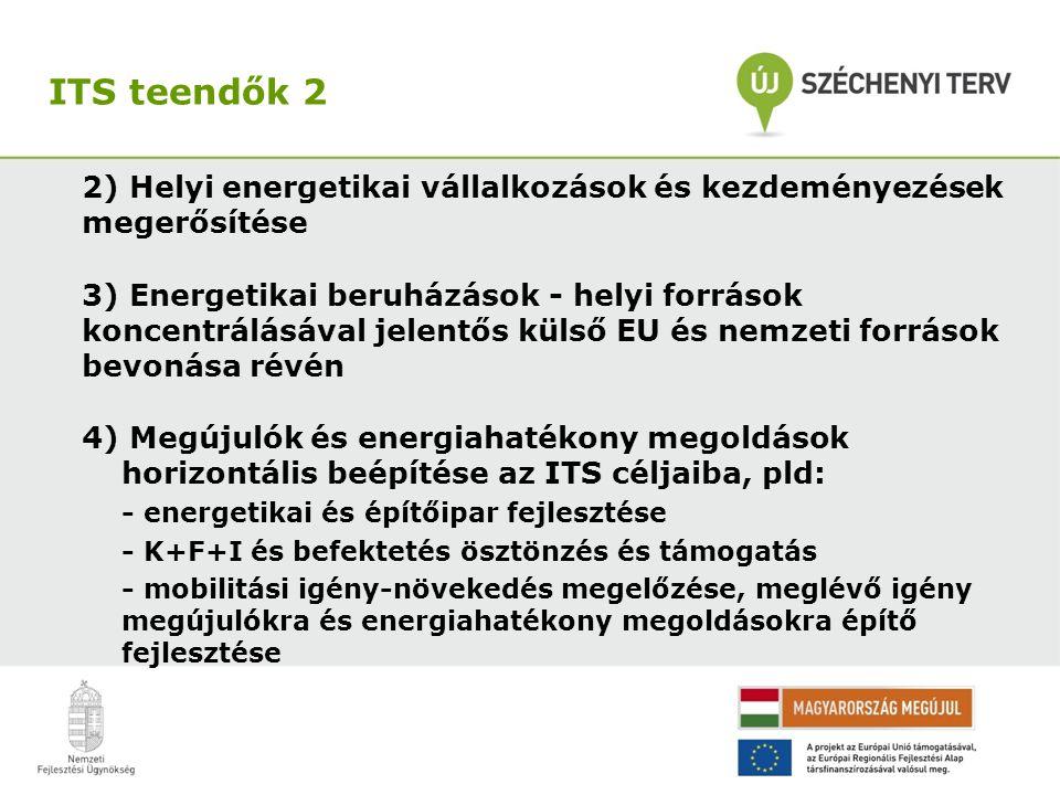 2) Helyi energetikai vállalkozások és kezdeményezések megerősítése 3) Energetikai beruházások - helyi források koncentrálásával jelentős külső EU és nemzeti források bevonása révén 4) Megújulók és energiahatékony megoldások horizontális beépítése az ITS céljaiba, pld: - energetikai és építőipar fejlesztése - K+F+I és befektetés ösztönzés és támogatás - mobilitási igény-növekedés megelőzése, meglévő igény megújulókra és energiahatékony megoldásokra építő fejlesztése ITS teendők 2