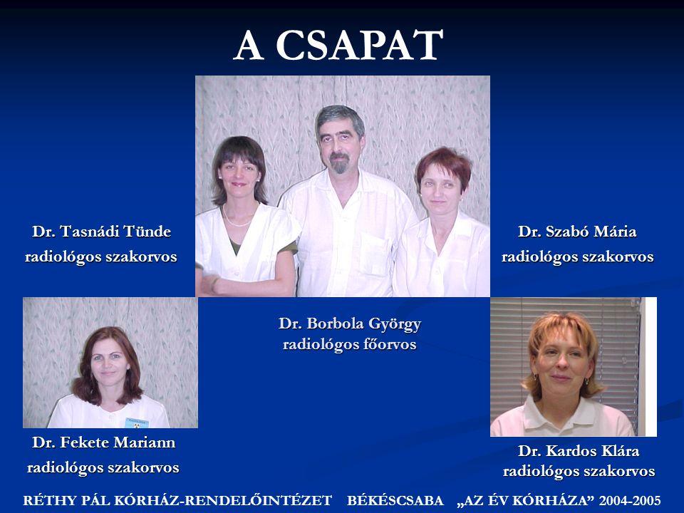 Dr.Borbola György radiológos főorvos Dr. Kardos Klára radiológos szakorvos Dr.