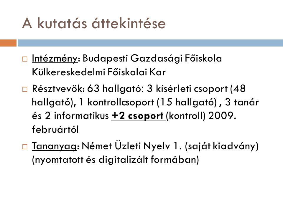 A kutatás áttekintése  Intézmény: Budapesti Gazdasági Főiskola Külkereskedelmi Főiskolai Kar  Résztvevők: 63 hallgató : 3 kísérleti csoport (48 hall