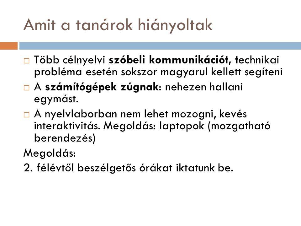 Amit a tanárok hiányoltak  Több célnyelvi szóbeli kommunikációt, technikai probléma esetén sokszor magyarul kellett segíteni  A számítógépek zúgnak:
