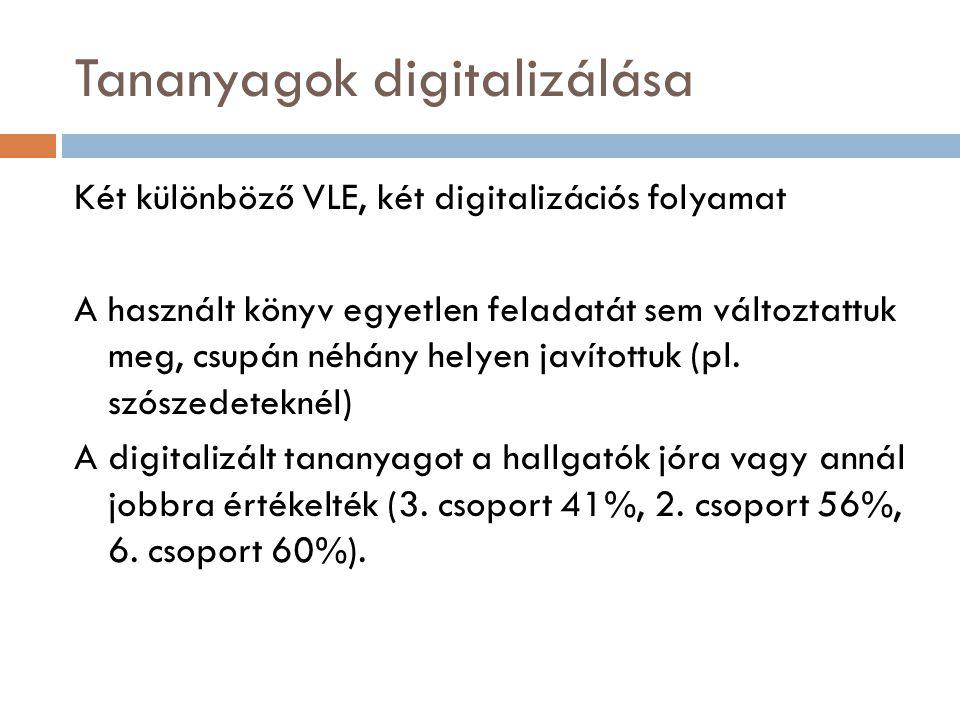 Tananyagok digitalizálása Két különböző VLE, két digitalizációs folyamat A használt könyv egyetlen feladatát sem változtattuk meg, csupán néhány helye