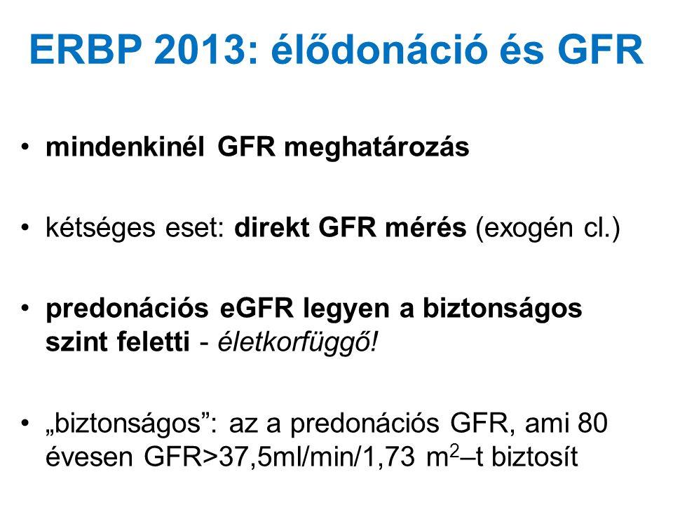 ERBP 2013: élődonáció és GFR •mindenkinél GFR meghatározás •kétséges eset: direkt GFR mérés (exogén cl.) •predonációs eGFR legyen a biztonságos szint