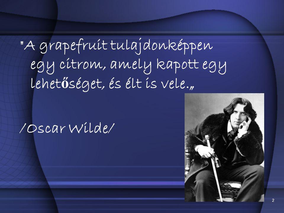 """2 A grapefruit tulajdonképpen egy citrom, amely kapott egy lehet ő séget, és élt is vele."""" /Oscar Wilde/"""